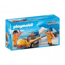 Буксир самолета Playmobil с наземной командой