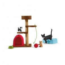 Набор Schleich Игровой комплекс с кошкой и котятами