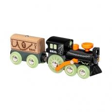 Поезд-Призрак Brio с одним вагоном и грузом, светящийся в темноте