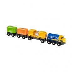 Длинный товарный поезд Brio с тремя вагонами и грузами