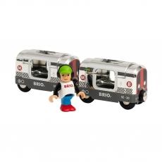 Коллекционный поезд метро Brio «Металлик» из двух вагонов Special Edition, с фигуркой