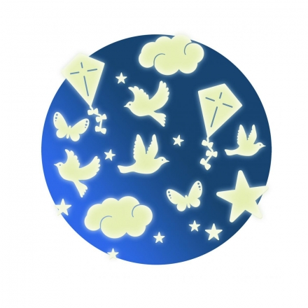 Светящиеся наклейки на стену Djeco Птички