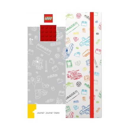Блокнот с резинкой Lego, красный, 96 листов в линейку