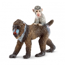 Фигурка Schleich Мандрил, самка с детёнышем