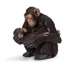 Фигурка Schleich Шимпанзе, самка с детёнышем